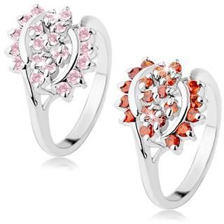 Lesklý prsteň striebornej farby zdobený brúsenými zirkónikmi, lesklé oblúky - Veľkosť: 52 mm, Farba: Oranžová