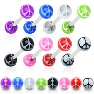 Piercing do jazyka - farebné guličky, symbol mieru - Rozmer: 1,4 mm x 15 mm x 6 mm, Farba piercing: Biela - Čierna