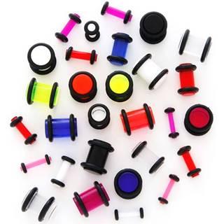 Plug do ucha UV priehľadný s gumičkami - Hrúbka: 1,5 mm, Farba piercing: Modrá