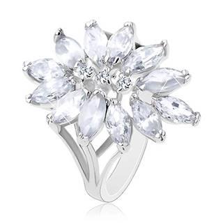 Prsteň striebornej farby, veľký kvet tvorený zirkónovými zrnkami - Veľkosť: 51 mm, Farba: Mix
