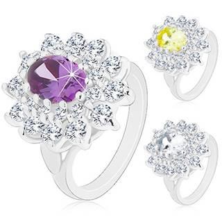 Prsteň v striebornej farbe, veľký žiarivý kvet zo zirkónov, lístočky - Veľkosť: 50 mm, Farba: Žltá