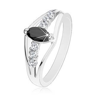 Trblietavý prsteň v striebornom odtieni, číre zirkónové línie, farebné zrnko - Veľkosť: 49 mm, Farba: Modrá tmavá