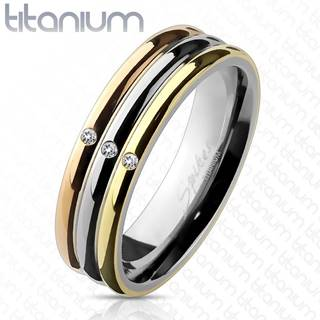 Trojfarebný titánový prsteň so zirkónmi - Veľkosť: 49 mm
