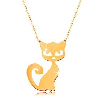 Zlatý 14K náhrdelník - plochý prívesok - mačička, jemná ligotavá retiazka