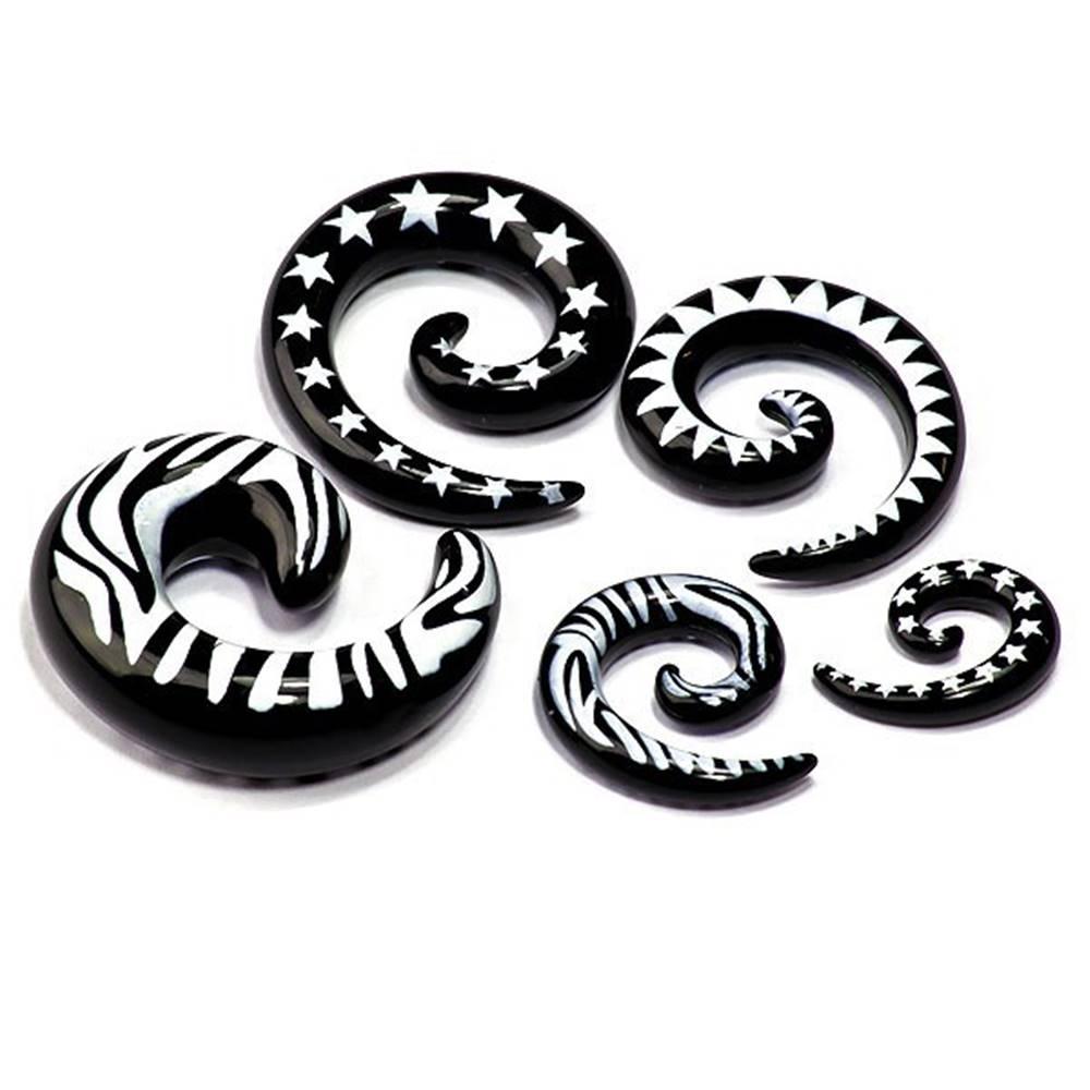Šperky eshop Čierny vzorovaný expander do ucha z akrylu, slimák - Hrúbka: 3 mm, Tvar hlavičky: Zebra