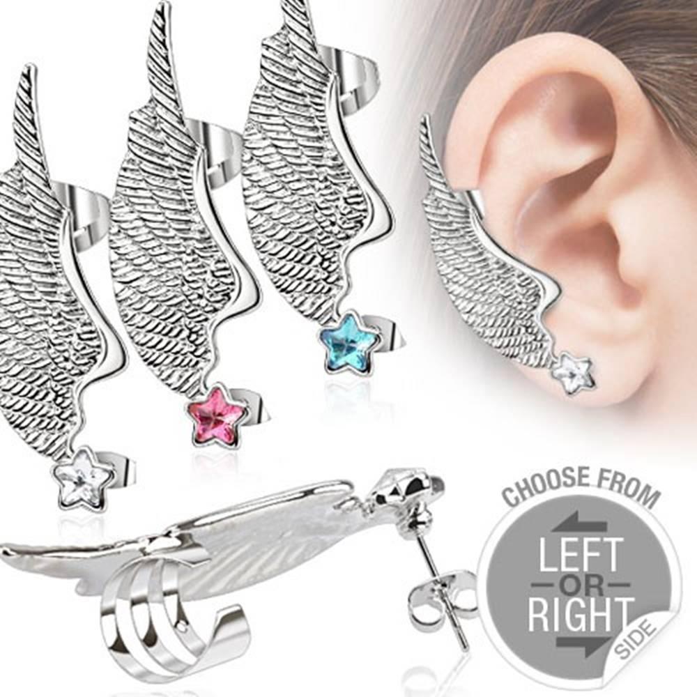 Šperky eshop Fake piercing do ucha z ocele - krídlo a farebná zirkónová hviezda - Farba zirkónu: Aqua modrá - Q, Tvar: Ľavý