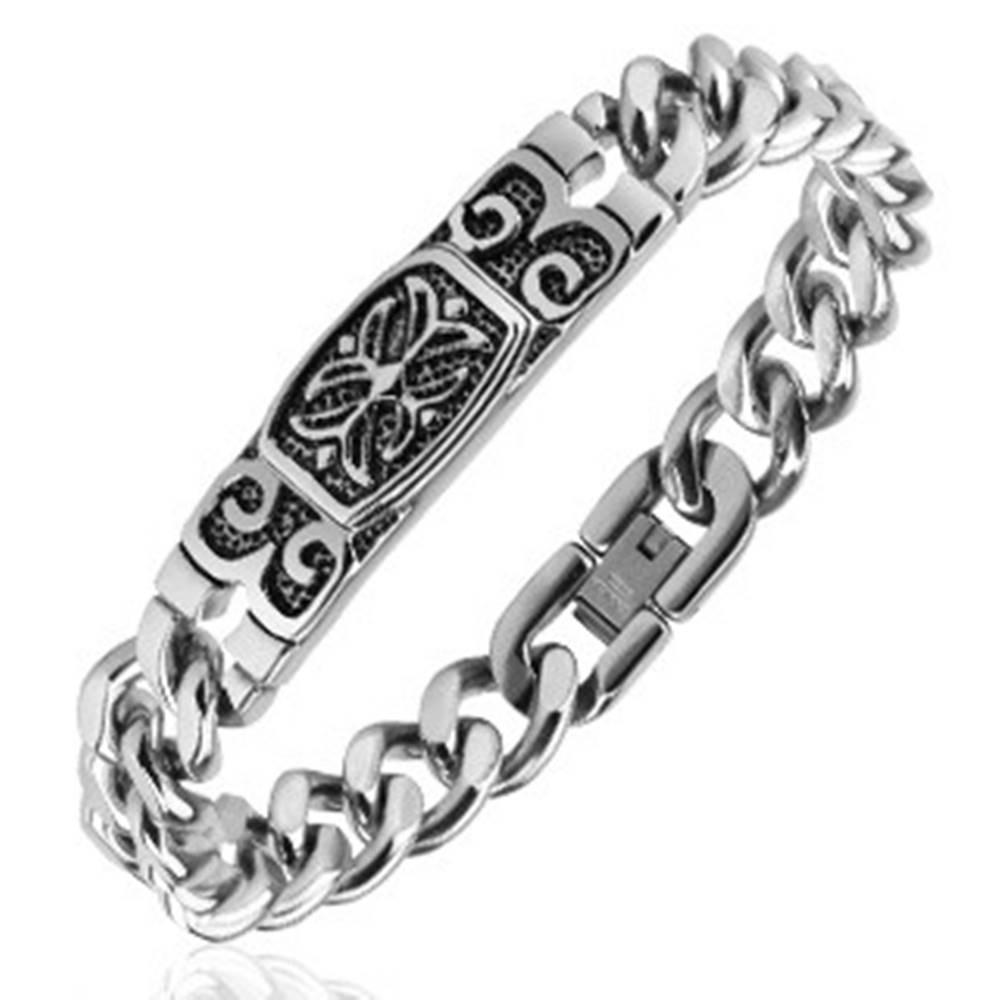 Šperky eshop Náramok z ocele - známka s keltským krížom