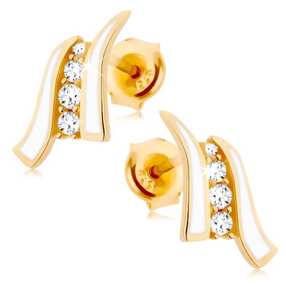 Šperky eshop Náušnice v žltom 9K zlate - dve biele vlnky, línia čírych zirkónov
