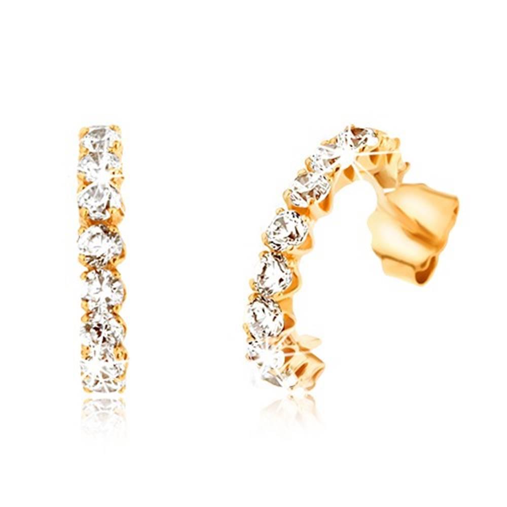Šperky eshop Náušnice zo žltého 9K zlata - polkruhy vykladané okrúhlymi čírymi zirkónmi
