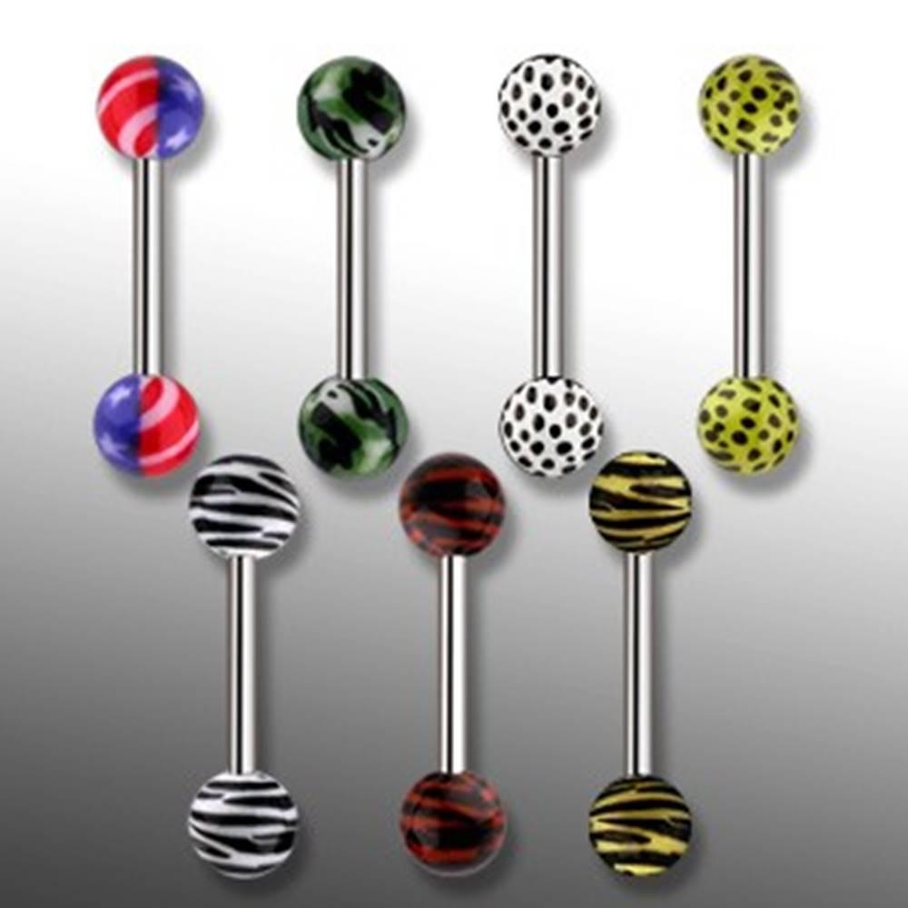 Šperky eshop Piercing do jazyka - tiger, leopard, Amerika, ARMY - Rozmer: 1,2 mm x 15 mm x 6 mm, Symbol: army, Farba piercing: Čierna - Zelená