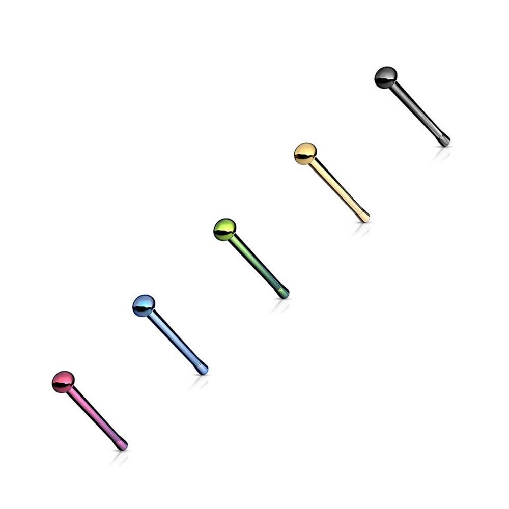 Šperky eshop Piercing do nosa z chirurgickej ocele, rovný, mierne vypuklá hlavička - Hrúbka piercingu: 0,8 mm, Farba piercing: Čierna