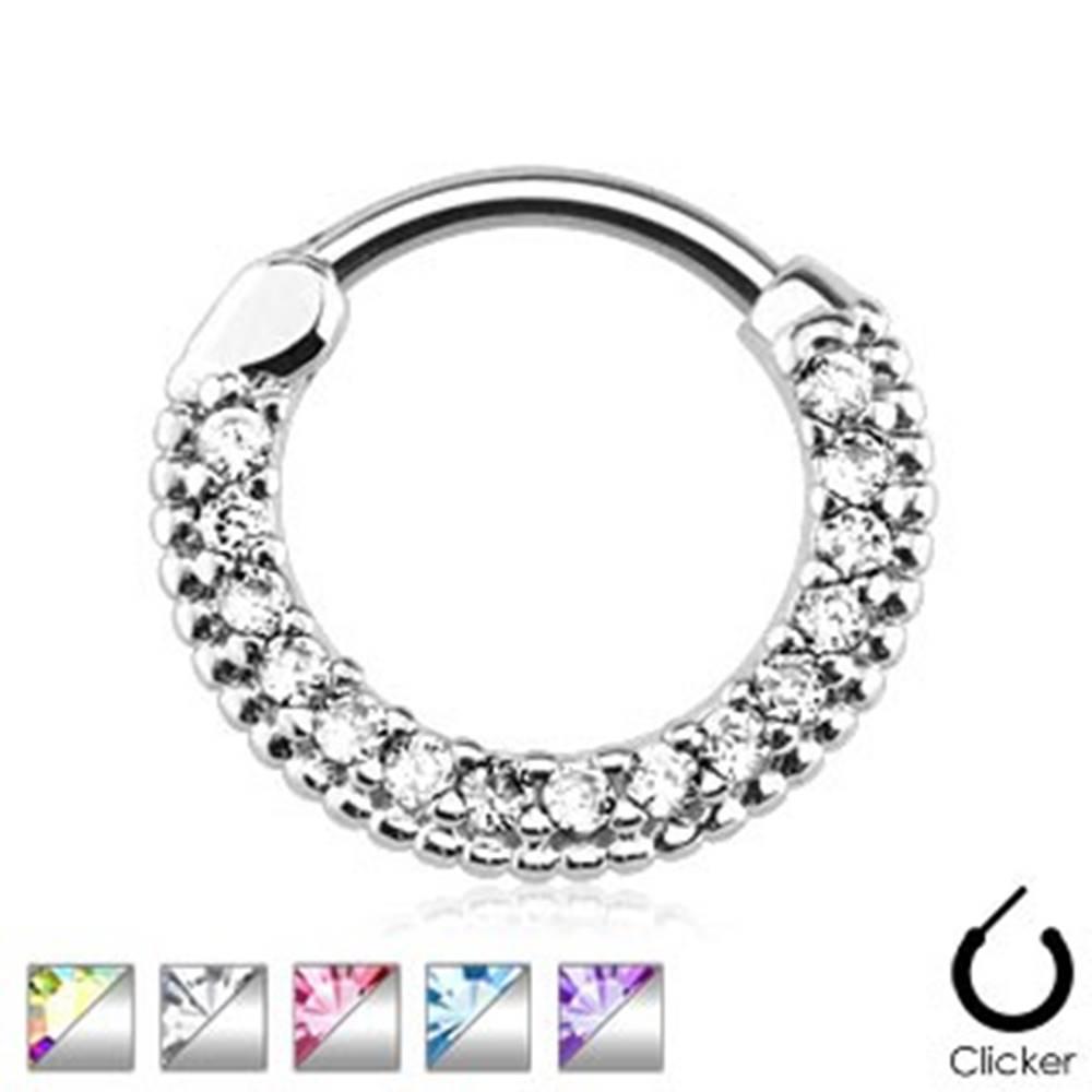 Šperky eshop Piercing do nosa z chirurgickej ocele, vrúbkovaný krúžok so zirkónmi - Hrúbka piercingu: 1,2 mm, Farba zirkónu: Tanzanit - TZ
