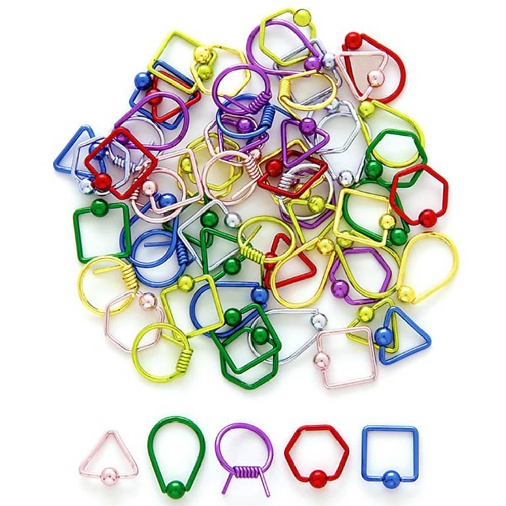 Šperky eshop Piercing s guličkou - geometrické tvary - Farba piercing: Červená, Tvar: šesťuholník