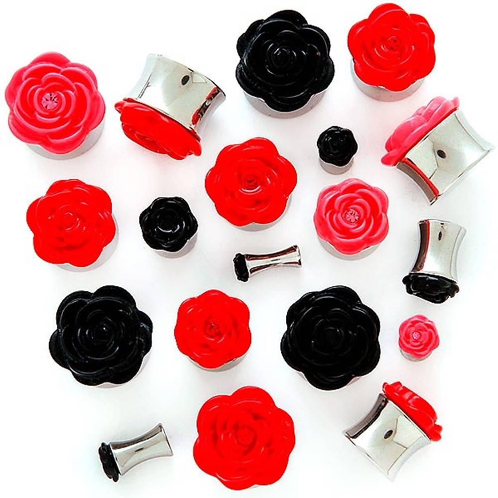 Šperky eshop Plug do ucha s plastickou ružičkou - Hrúbka: 10 mm, Farba piercing: Čierna