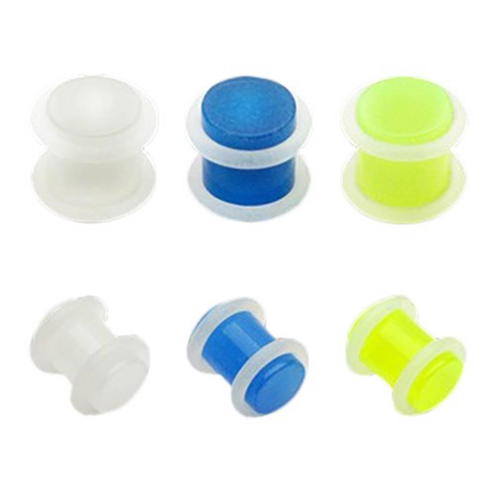 Šperky eshop Plug do ucha z akrylu - priehľadný s gumičkami - Hrúbka: 10 mm, Farba piercing: Neónová zelená
