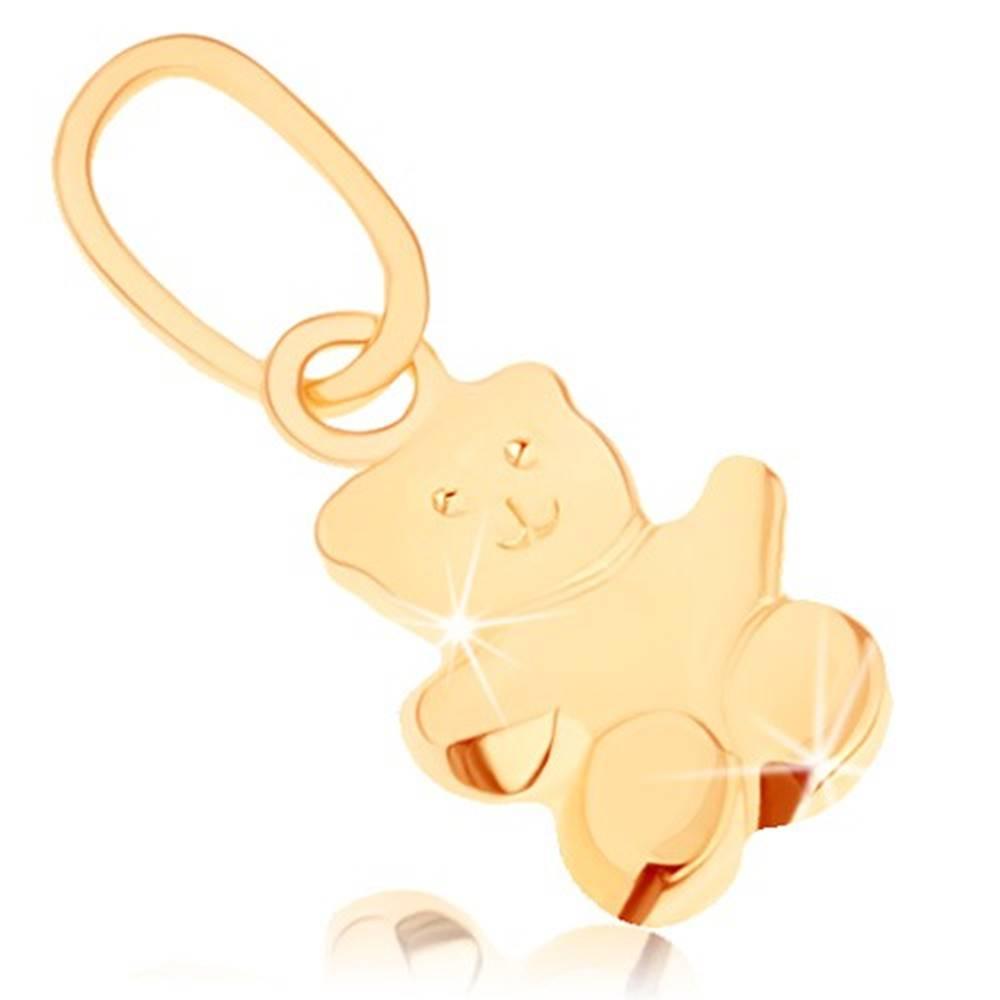 Šperky eshop Prívesok v žltom 9K zlate - malý medvedík, hladký mierne vypuklý povrch