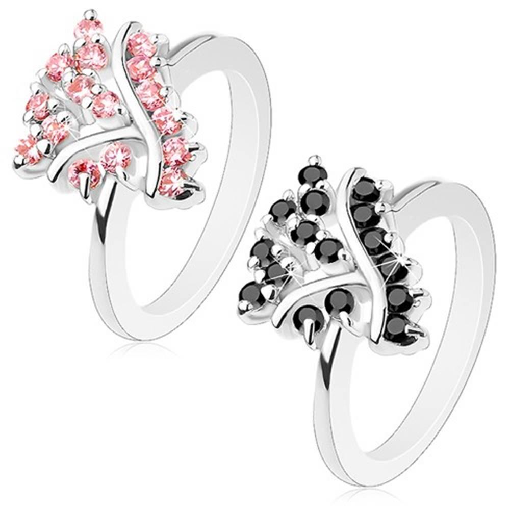 Šperky eshop Prsteň so zúženými ramenami, hladké pásiky a trblietavé okrúhle zirkóniky - Veľkosť: 51 mm, Farba: Ružová