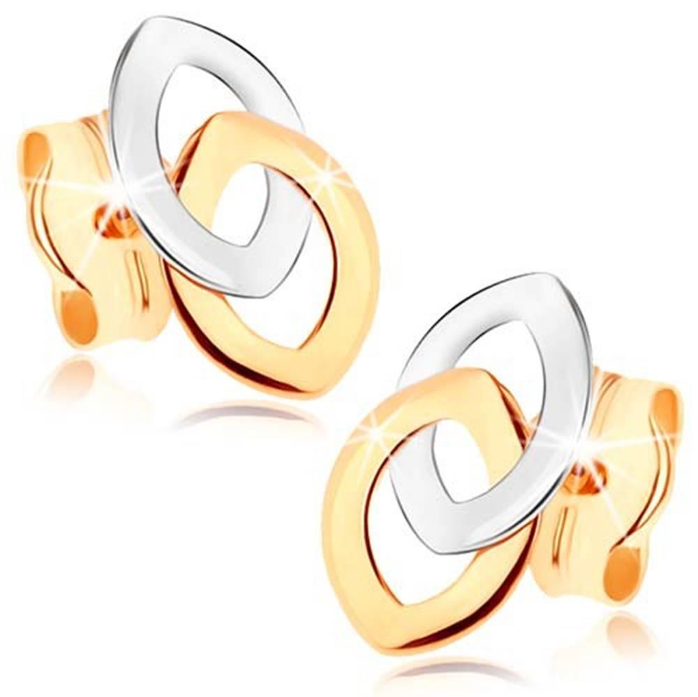 Šperky eshop Puzetové náušnice z 9K zlata - dve prepojené kontúry zrnka, dvojfarebné