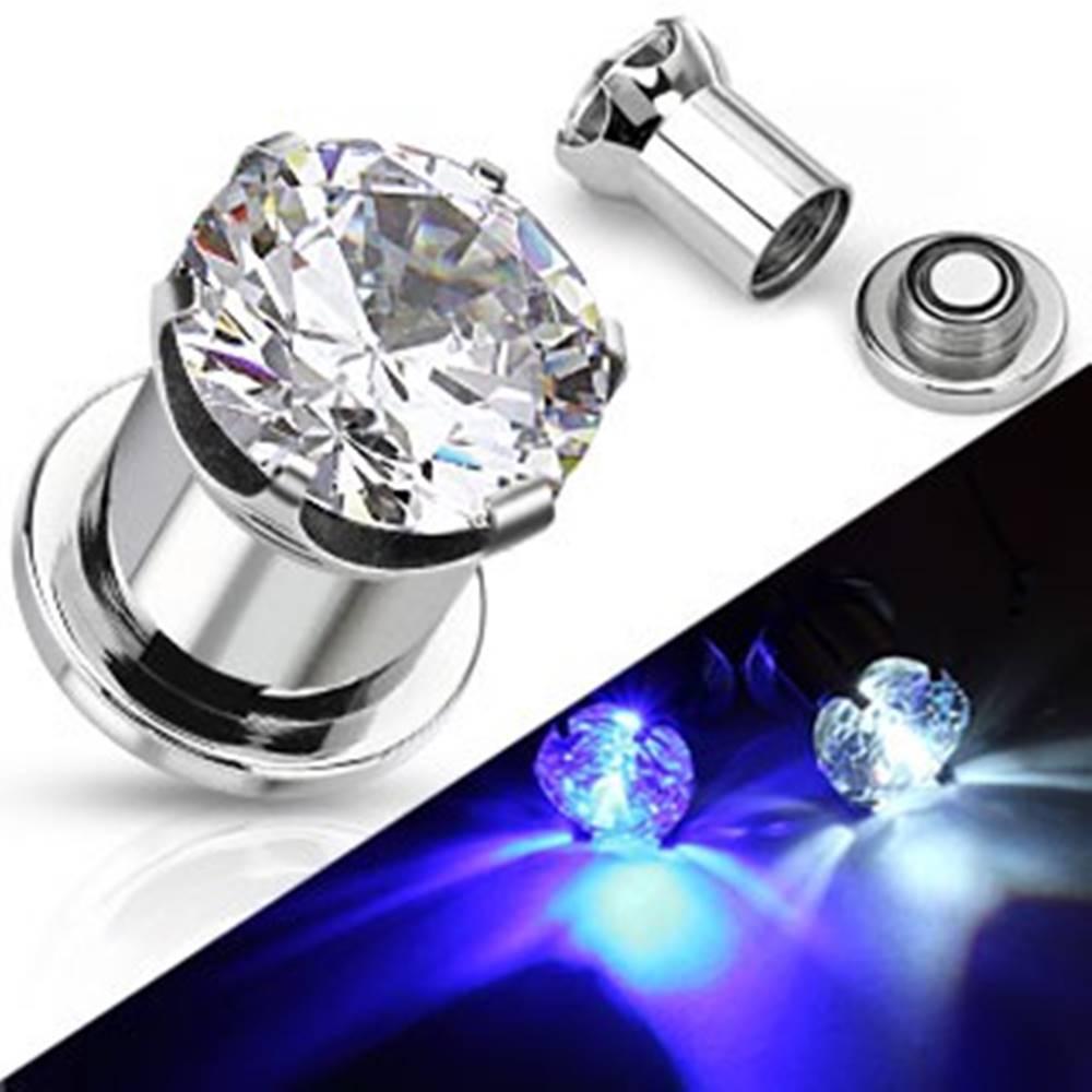 Šperky eshop Svietiaci oceľový plug do ucha - okrúhly číry zirkón - Hrúbka: 10 mm, Farba: Číra