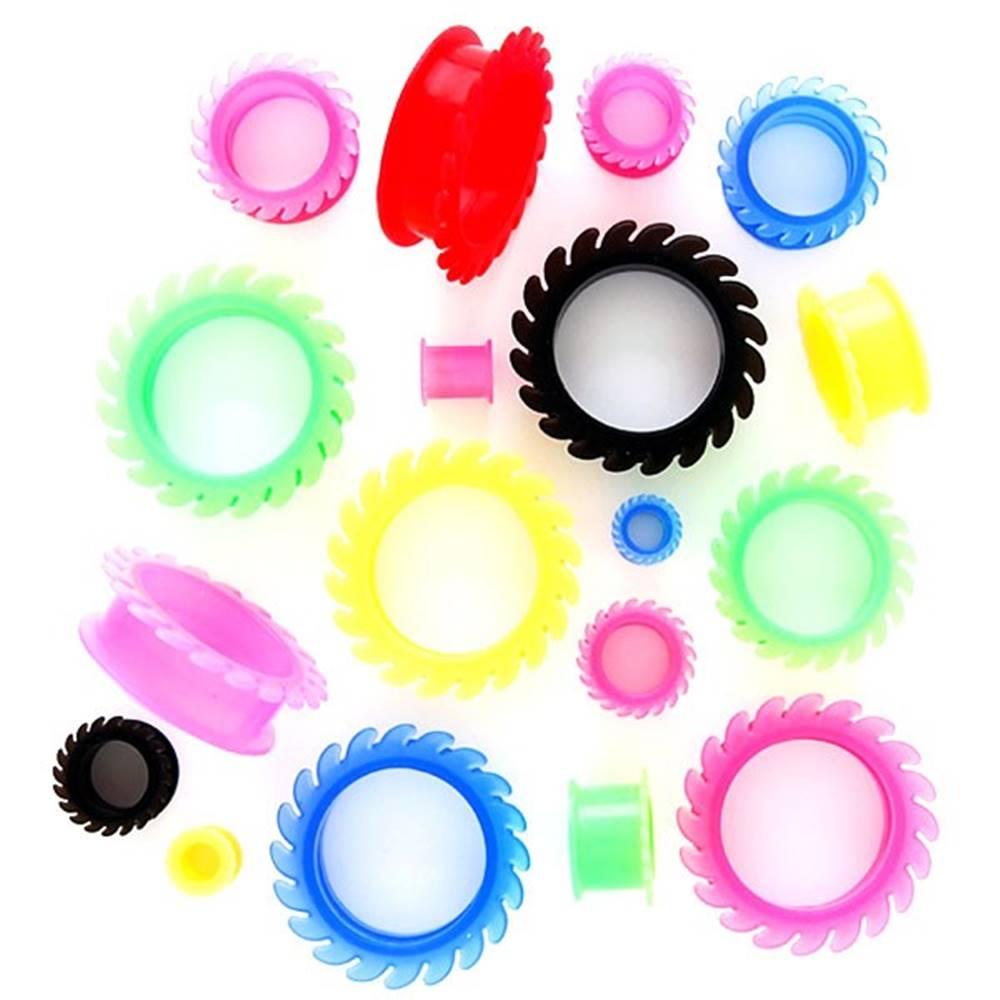 Šperky eshop Tunel do ucha - flexi kotúče - Hrúbka: 10 mm, Farba piercing: Červená