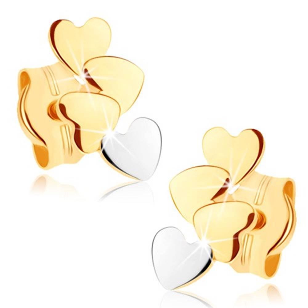Šperky eshop Zlaté náušnice 375 - štyri malé ploché srdiečka, vysoký lesk
