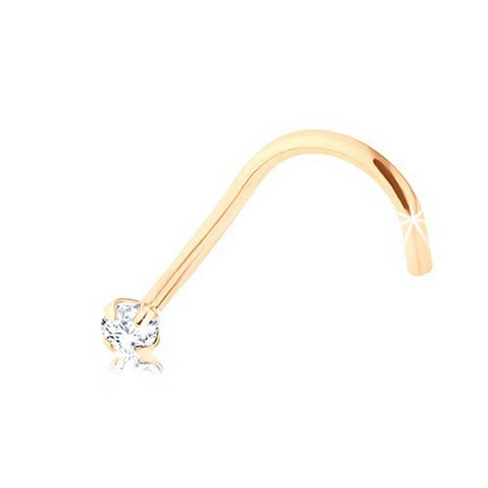 Šperky eshop Briliantový zahnutý piercing do nosa, žlté 9K zlato, číry diamant, 1,4 mm