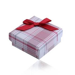 Krabička na prsteň, náušnice, prívesok a náhrdelník, červený károvaný vzor, mašľa