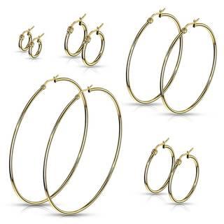 Náušnice z chirurgickej ocele - jednoduché lesklé kruhy v zlatom odtieni - Priemer: 10 mm