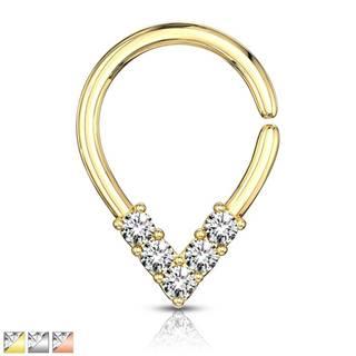 Piercing do nosa alebo ucha - zirkónové V, krúžok s lesklým povrchom - Hrúbka piercingu: 1 mm, Farba piercing: Zlatá