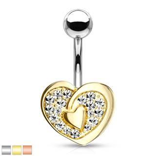 Piercing do pupka z ocele 316L - kontúra srdca so srdiečkom uprostred, žiarivé zirkóny - Farba piercing: Ružová Zlatá