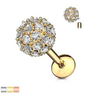Piercing do ucha, brady alebo pery z chirurgickej ocele - zirkónová gulička - Dĺžka piercingu: 6 mm, Farba piercing: Strieborná