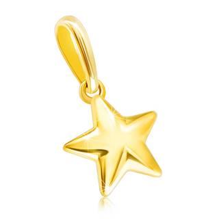 Prívesok v žltom 14K zlate - lesklá vypuklá hviezdička