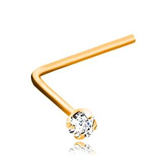 Zahnutý piercing do nosa, žlté 9K zlato, číry brúsený zirkónik, 1,5 mm