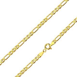 Zlatá retiazka 585 - podlhovasté očko, tri oválne očká s paličkami, 500 mm