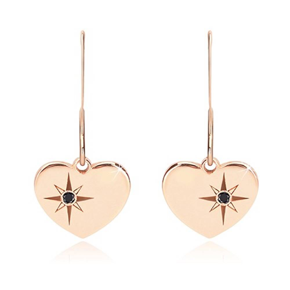 Šperky eshop Čierny diamant - strieborné náušnice 925, súmerné srdce ružovozlatej farby, severná hviezda