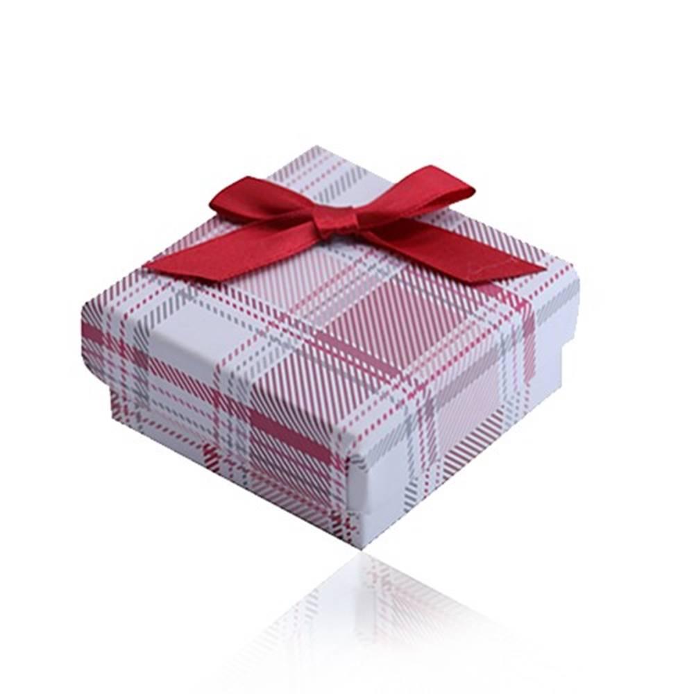 Šperky eshop Krabička na prsteň, náušnice, prívesok a náhrdelník, červený károvaný vzor, mašľa