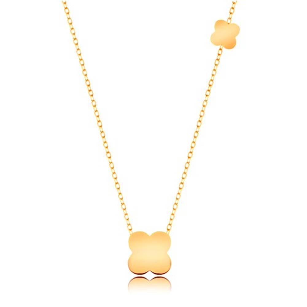 Šperky eshop Náhrdelník v žltom 9K zlate - tenká retiazka, menší a väčší štvorlístok