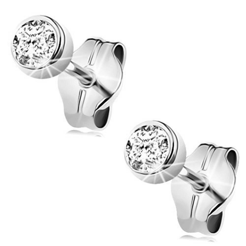 Šperky eshop Náušnice v bielom zlate 375 - číry okrúhly zirkón v objímke, 3 mm