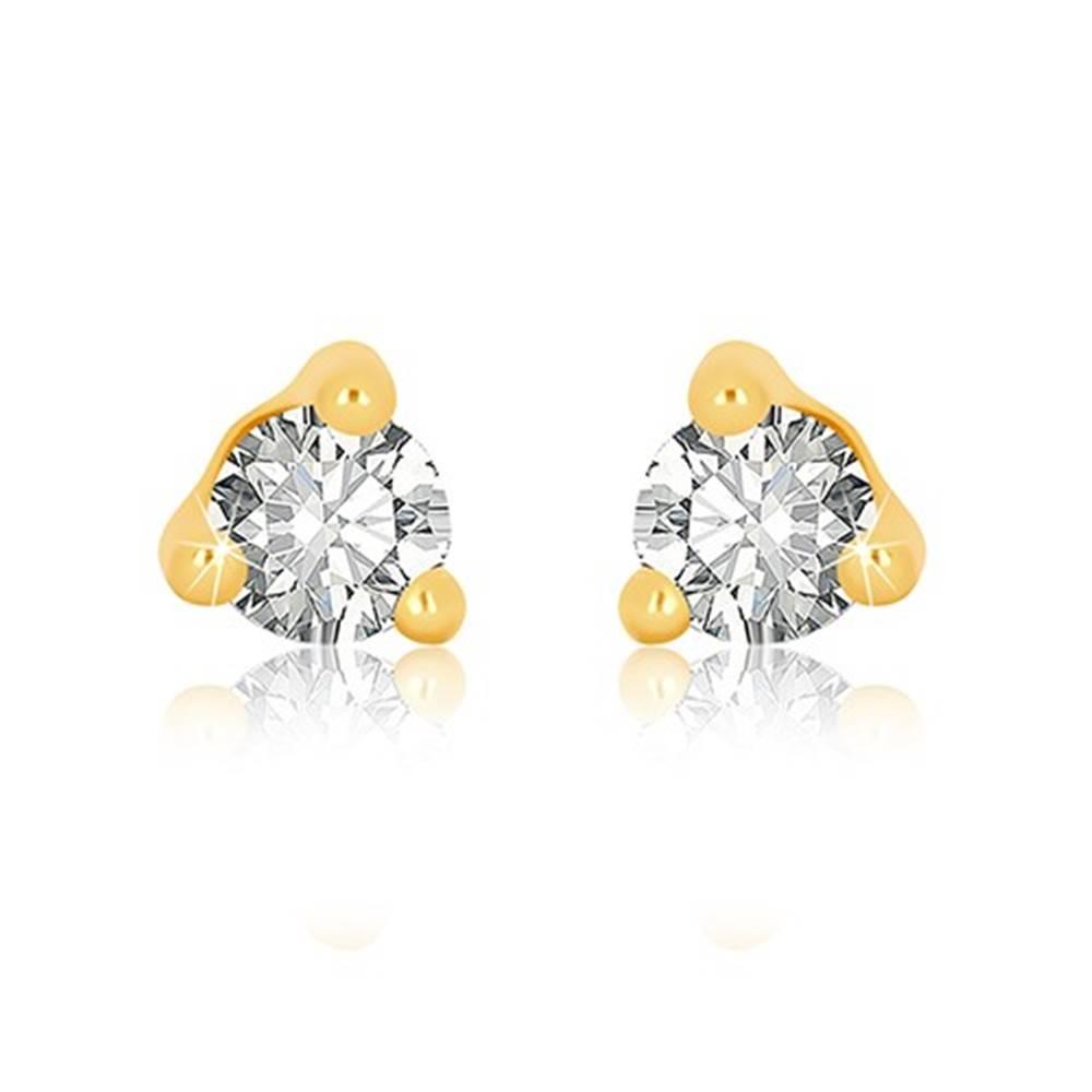 Šperky eshop Náušnice v žltom 9K zlate - číry okrúhly zirkón v trojuholníkovom kotlíku