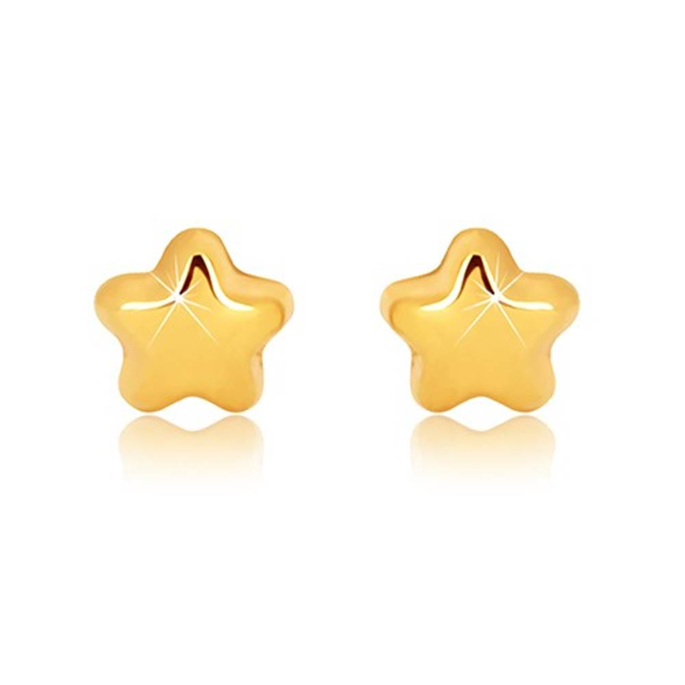 Šperky eshop Náušnice v žltom 9K zlate - zrkadlovolesklá hviezdička s piatimi cípmi, puzetky