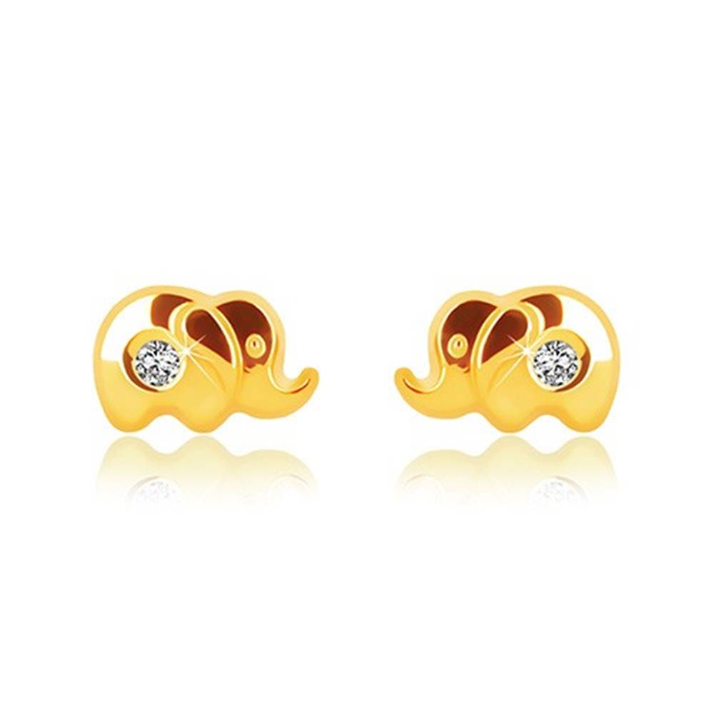Šperky eshop Náušnice v žltom zlate 375 - lesklý sloník s čírym zirkónom, puzetky