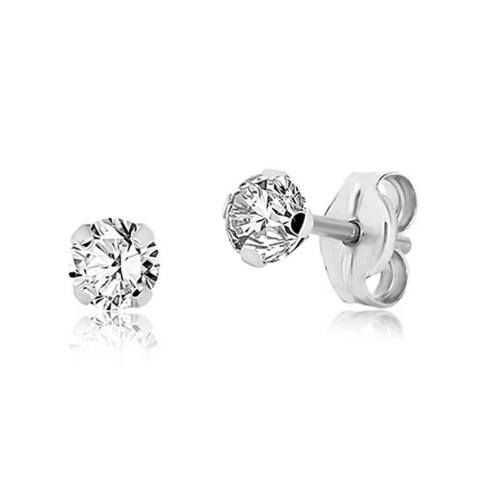 Šperky eshop Náušnice z bieleho 9K zlata - číry trblietavý zirkón, štyri paličky, 4 mm