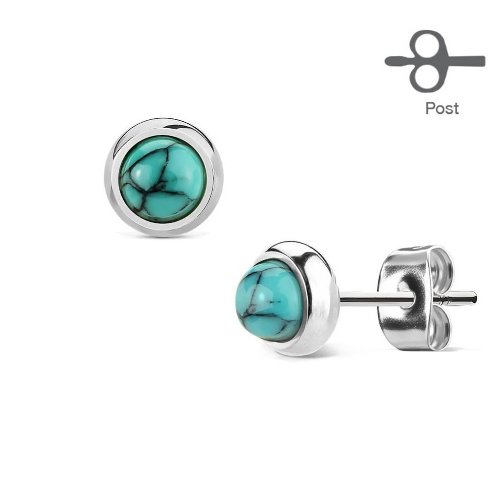 Šperky eshop Náušnice z chirurgickej ocele striebornej farby s modro-čiernym tyrkysom