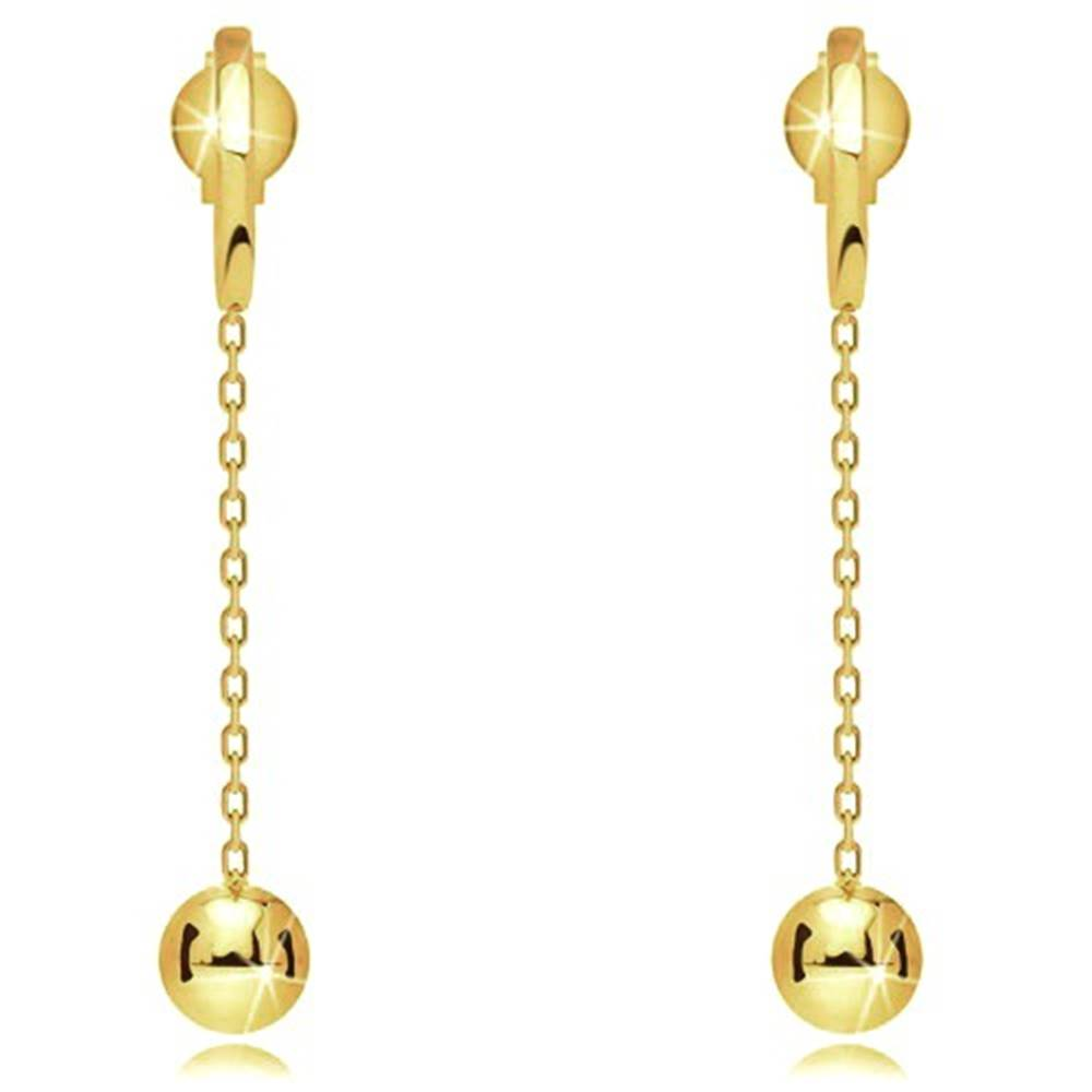 Šperky eshop Náušnice zo žltého 9K zlata - úzky pásik, lesklá gulička na retiazke