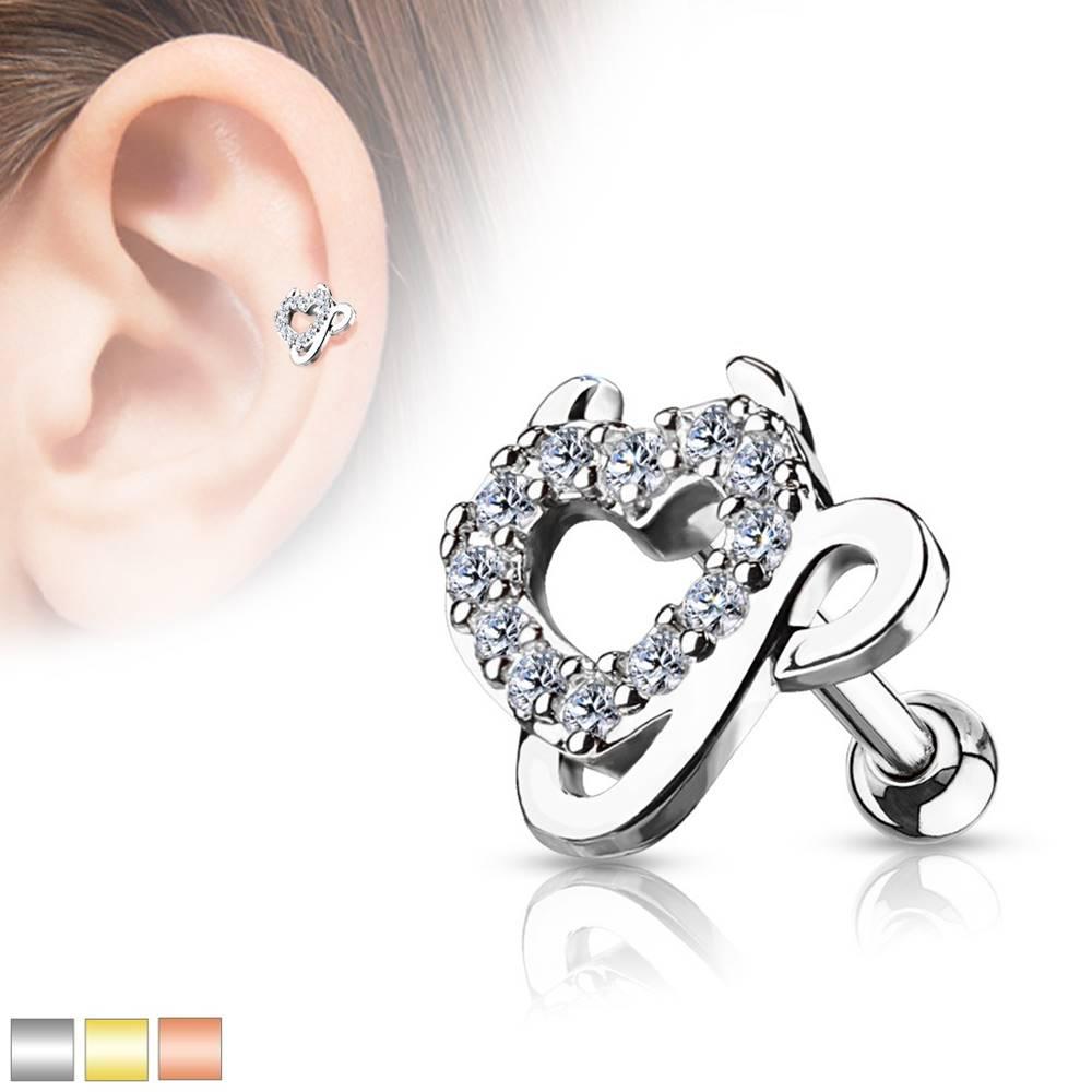 Šperky eshop Oceľový piercing do ucha - srdce vykladané zirkónmi, čertove rožky a chvostík - Farba piercing: Medená