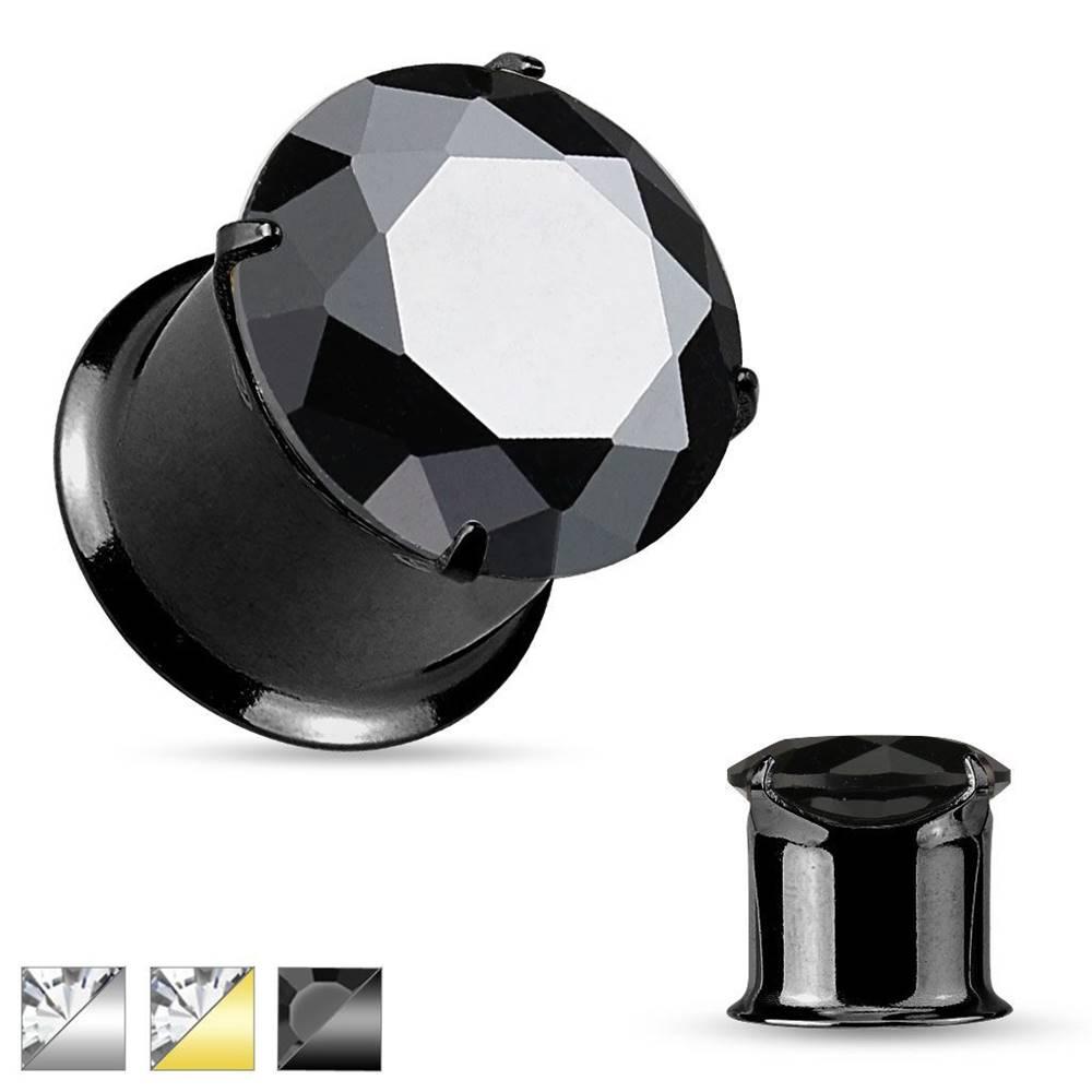 Šperky eshop Oceľový tunel do ucha, lesklý hladký povrch, trblietavý zirkón - Hrúbka: 10 mm, Farba piercing: Čierna