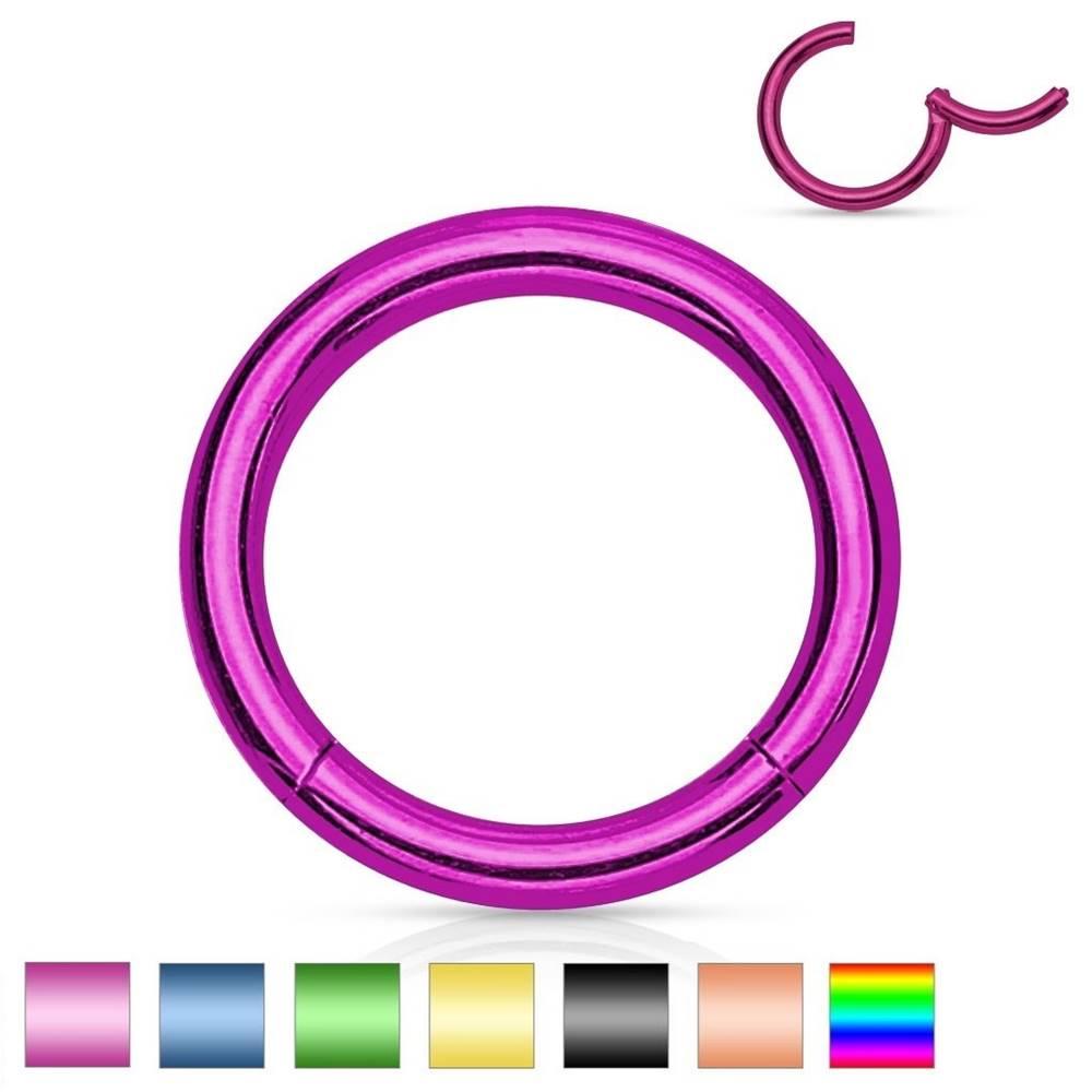 Šperky eshop Piercing do nosa a ucha, oceľ 316L, jednoduchý lesklý krúžok, rôzne farby - Hrúbka x priemer: 1,2 mm x 10 mm, Farba: Zlatá