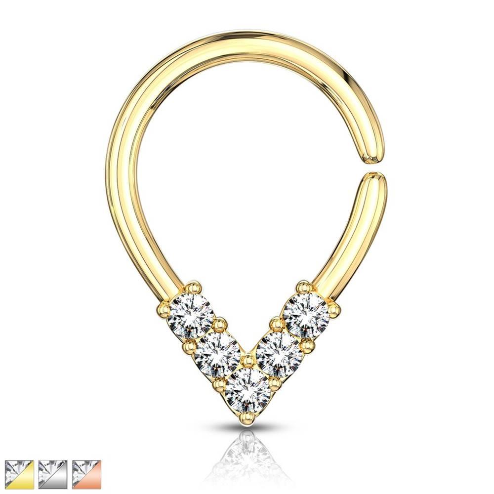 Šperky eshop Piercing do nosa alebo ucha - zirkónové V, krúžok s lesklým povrchom - Hrúbka piercingu: 1 mm, Farba piercing: Zlatá