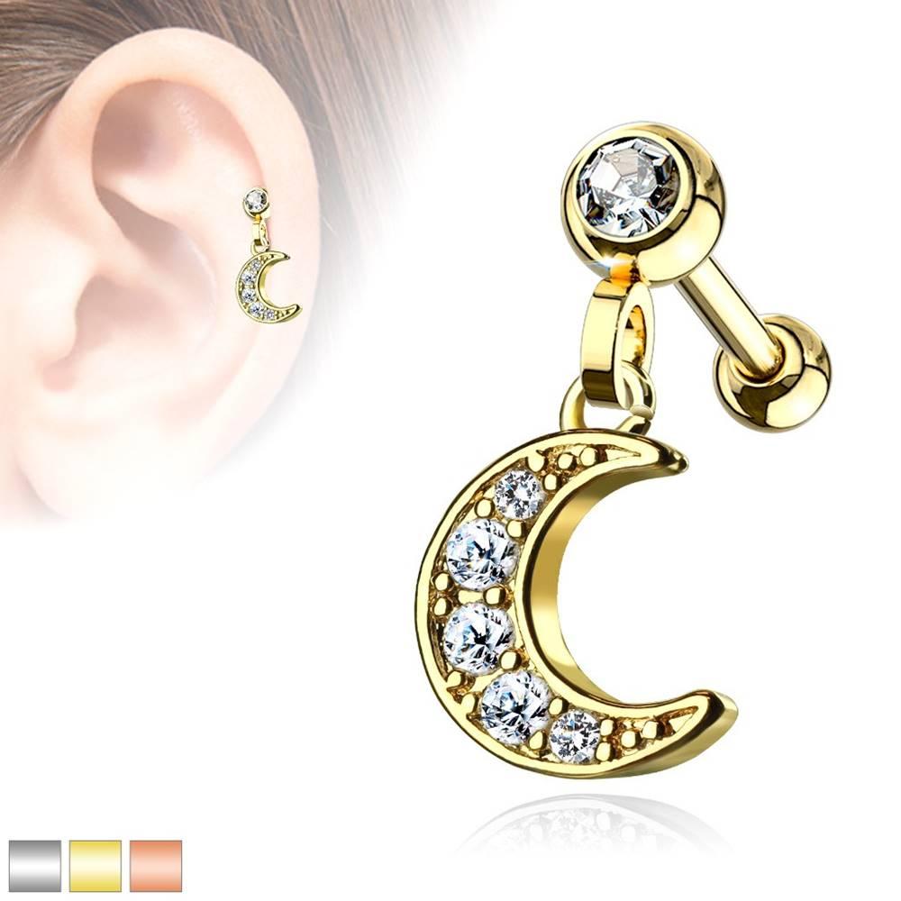 Šperky eshop Piercing do tragusu z ocele 316L - polmesiac vykladaný ligotavými zirkónmi - Farba piercing: Medená