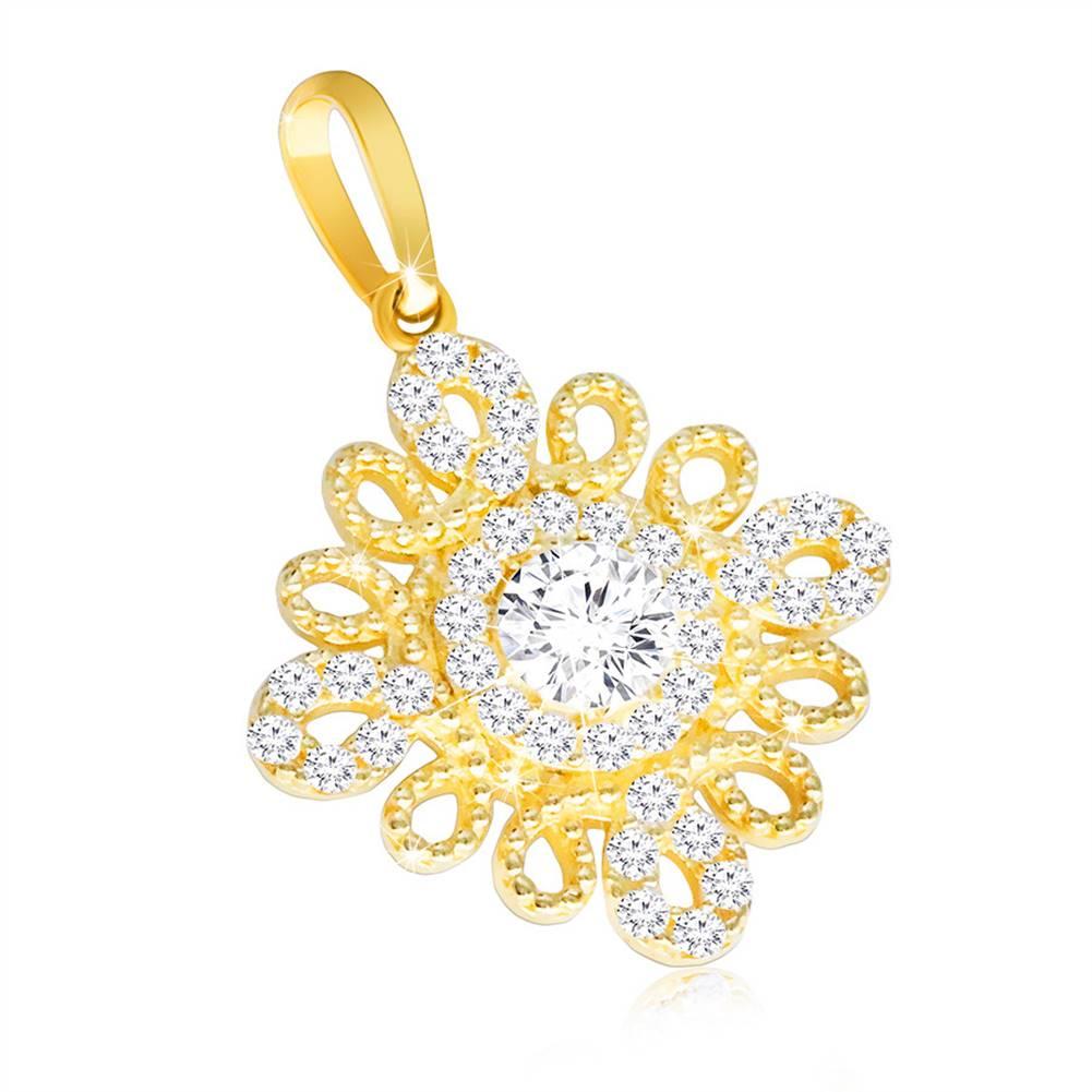 Šperky eshop Prívesok v žltom zlate 585 - špirálovitá kontúra v podobe kvetu, číry zirkón uprostred
